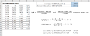 Unilateral Tolerance's Calculation on Excel Worksheet
