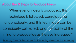 About the 5 Steps of 'A Technique for Producing Ideas'