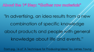 About Step 1 of 'A Technique for Producing Ideas'