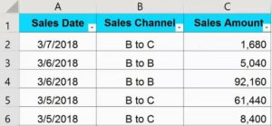 Source Data for Pivot Table