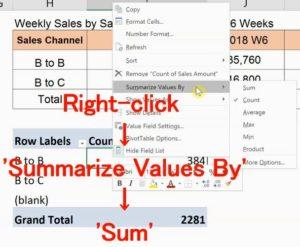 Summarize Values By