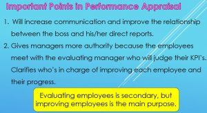 Important Points in Performance Appraisal