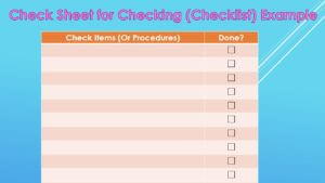 Check Sheet for Checking