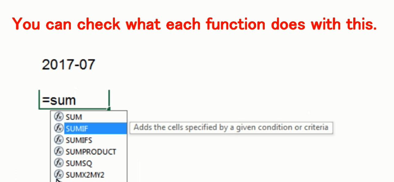How to learn Excel functions, and look at Excel functions: SUM