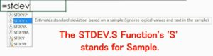 STDEV.S Function (Std Deviation)