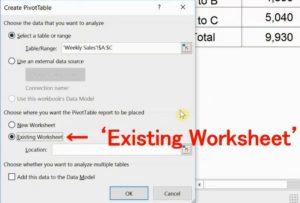 Create Pivot Table Screen