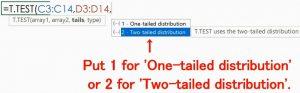 T.TEST Function's Arguments