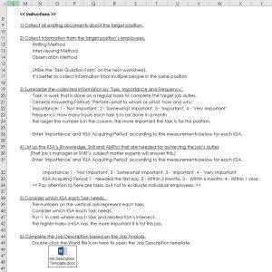 Job Analysis Template's Instructions
