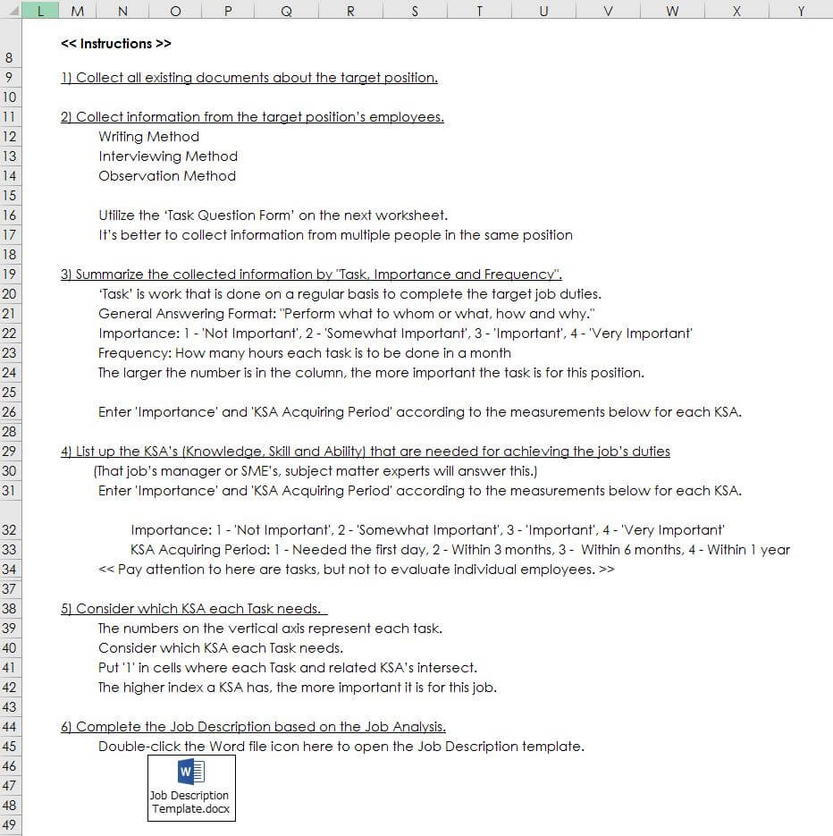 How to Conduct a Job Analysis and Make a Job Description【Excel For Job Descriptions Template Word