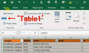 Make a Table in Excel