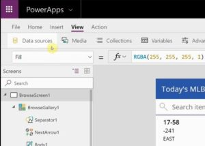 PowerApps Data sources button