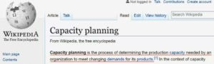 Wiki's Definition of Capacity Planning