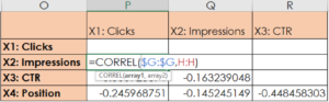 CORREL Function for Multiple Regression Analysis