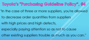 Toyota's Purchasing Guideline Policy Article 4 c