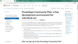 Free PowerApps Community Plan MS Web Page