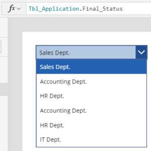 PowerApps Drop down list example