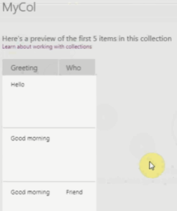 PowerApps Collection List 2